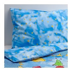 "RYMDBAS duvet cover and pillowcase(s), blue Thread count: 144 square inches Duvet cover length: 86 "" Duvet cover width: 64 "" Thread count: 144 square inches Duvet cover length: 218 cm Duvet cover width: 162 cm"