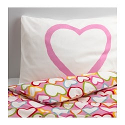 VITAMINER HJÄRTA quilt cover and pillowcase, multicolour Quilt cover length: 200 cm Quilt cover width: 150 cm Pillowcase length: 50 cm
