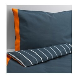 "BENRANGEL duvet cover and pillowcase(s), blue, gray Duvet cover length: 86 "" Duvet cover width: 64 "" Pillowcase length: 20 "" Duvet cover length: 218 cm Duvet cover width: 162 cm Pillowcase length: 51 cm"