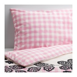 "MYSTISK duvet cover and pillowcase(s), lace pink Duvet cover length: 86 "" Duvet cover width: 64 "" Pillowcase length: 20 "" Duvet cover length: 218 cm Duvet cover width: 162 cm Pillowcase length: 51 cm"