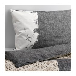 "PIMPLA duvet cover and pillowcase(s), gray Duvet cover length: 86 "" Duvet cover width: 64 "" Pillowcase length: 20 "" Duvet cover length: 218 cm Duvet cover width: 162 cm Pillowcase length: 51 cm"
