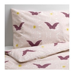 "SILKIG duvet cover and pillowcase(s), butterfly light pink Duvet cover length: 86 "" Duvet cover width: 64 "" Pillowcase length: 20 "" Duvet cover length: 218 cm Duvet cover width: 162 cm Pillowcase length: 51 cm"