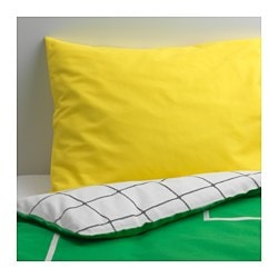 "SPELPLAN duvet cover and pillowcase(s), green Duvet cover length: 86 "" Duvet cover width: 64 "" Pillowcase length: 20 "" Duvet cover length: 218 cm Duvet cover width: 162 cm Pillowcase length: 51 cm"