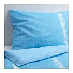 "STOJIG duvet cover and pillowcase(s), blue Duvet cover length: 86 "" Duvet cover width: 64 "" Pillowcase length: 20 "" Duvet cover length: 218 cm Duvet cover width: 162 cm Pillowcase length: 51 cm"