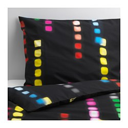 "SUDDIG duvet cover and pillowcase(s), black Duvet cover length: 86 "" Duvet cover width: 64 "" Pillowcase length: 20 "" Duvet cover length: 218 cm Duvet cover width: 162 cm Pillowcase length: 51 cm"