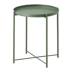 GLADOM tray table, dark green Diameter: 445 mm Height: 525 mm