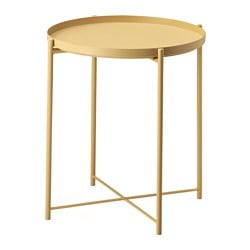 GLADOM tray table, light yellow Height: 525 mm Diameter: 445 mm