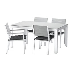 FALSTER table and 4 armchairs, outdoor, Hållö black, gray