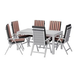 FALSTER table+6 reclining chairs, outdoor, grey, Ekerön black