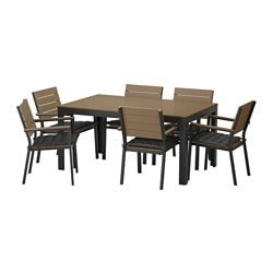 FALSTER table+6 armchairs, outdoor, black-brown, Hållö black