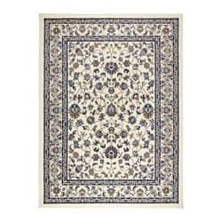 VALLÖBY rug, low pile, beige, blue Length: 230 cm Width: 170 cm Thickness: 14 mm