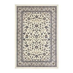 VALLÖBY rug, low pile, beige, blue Length: 300 cm Width: 200 cm Thickness: 14 mm
