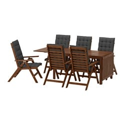 ÄPPLARÖ table+6 reclining chairs, outdoor, brown stained, Hållö black