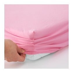 LEN fitted sheet f/extend bed, set of 2, pink