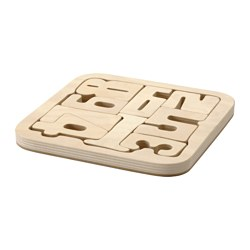 "PYSSLA puzzle, numbers, plywood Length: 7 ¾ "" Width: 7 ¾ "" Length: 19.5 cm Width: 19.5 cm"