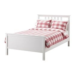 HEMNES bed frame, Luröy, white stain Length: 211 cm Width: 134 cm Footboard height: 66 cm