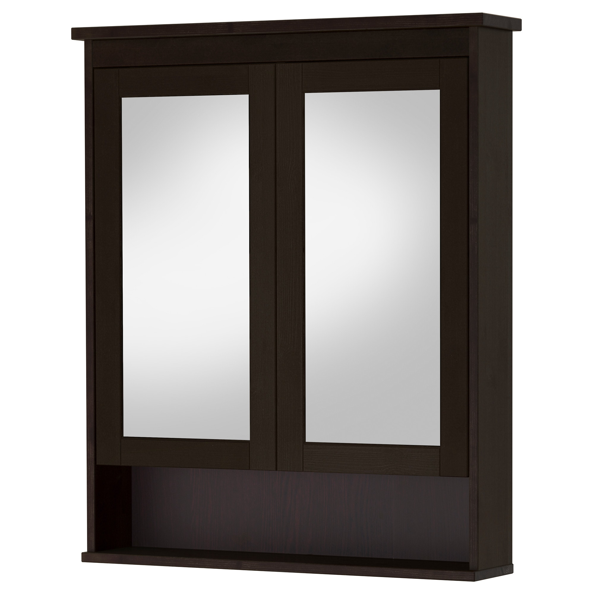 Bathroom Mirror Unit hemnes mirror cabinet with 2 doors - black-brown stain, 32 5/8x6 1