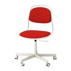 ÖRFJÄLL /  SPORREN swivel chair, white, Vissle red-orange Tested for: 110 kg Width: 65 cm Depth: 65 cm