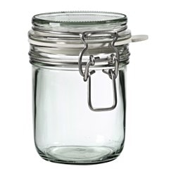 KONCENTRAT jar with lid, clear glass Diameter: 88 mm Height: 11 cm Volume: 0.4 l