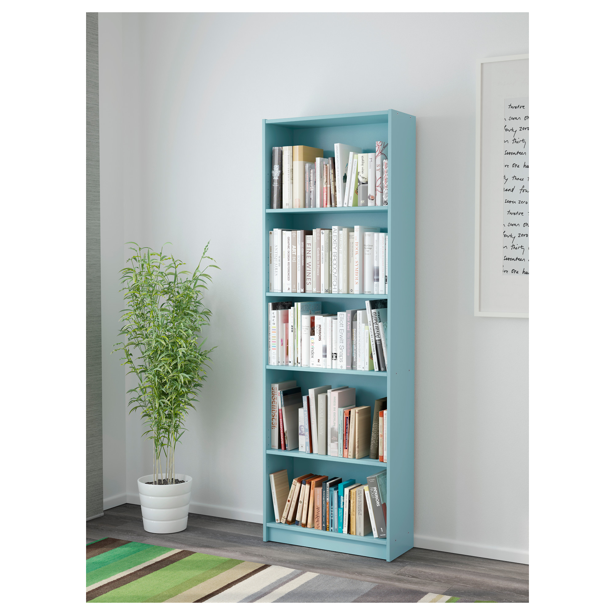 Image Gallery teal bookcase
