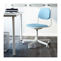 ÖRFJÄLL / SPORREN Swivel Chair, White, Vissle Light Blue
