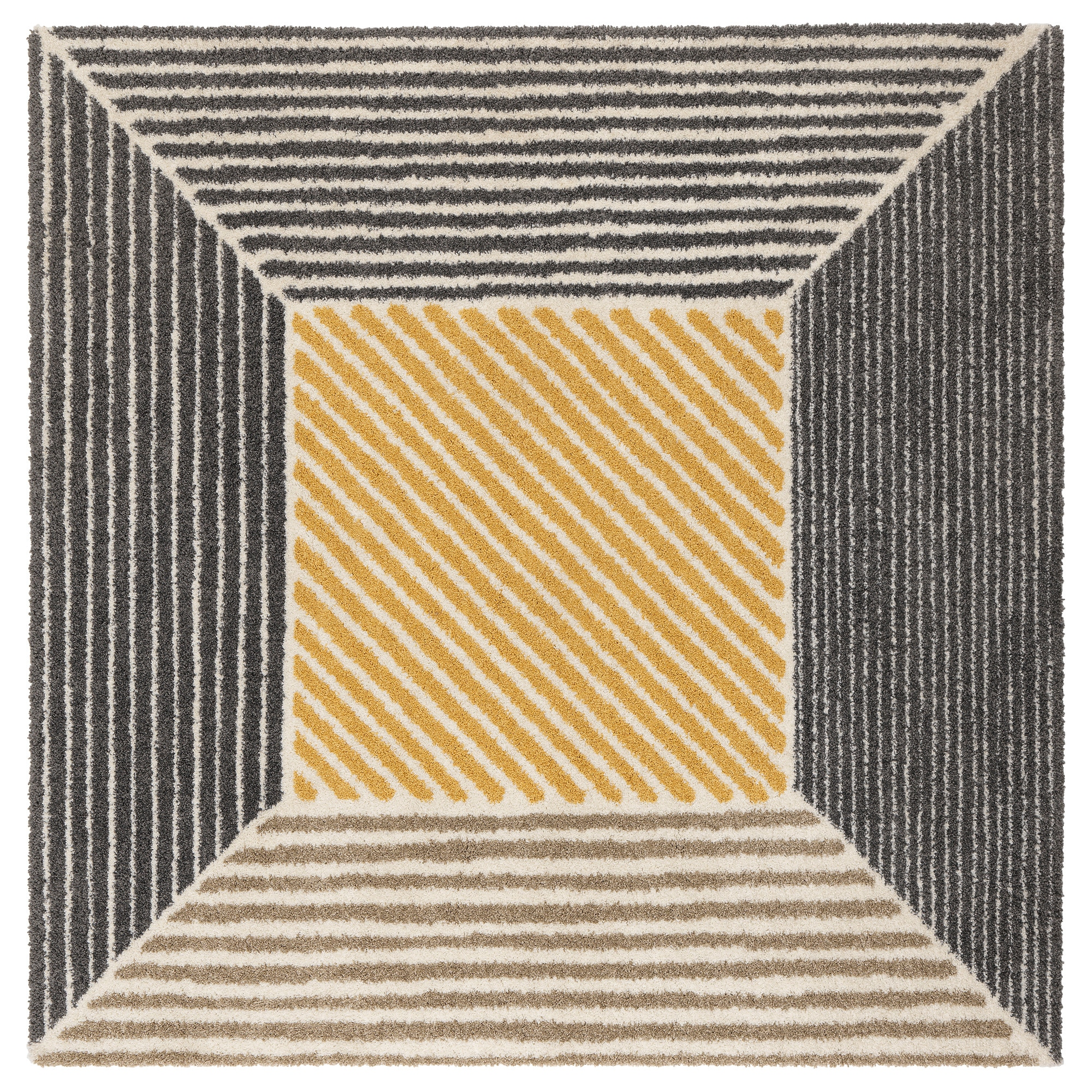 Birket Rug, High Pile, Yellow, Gray Length: 6 ' 7
