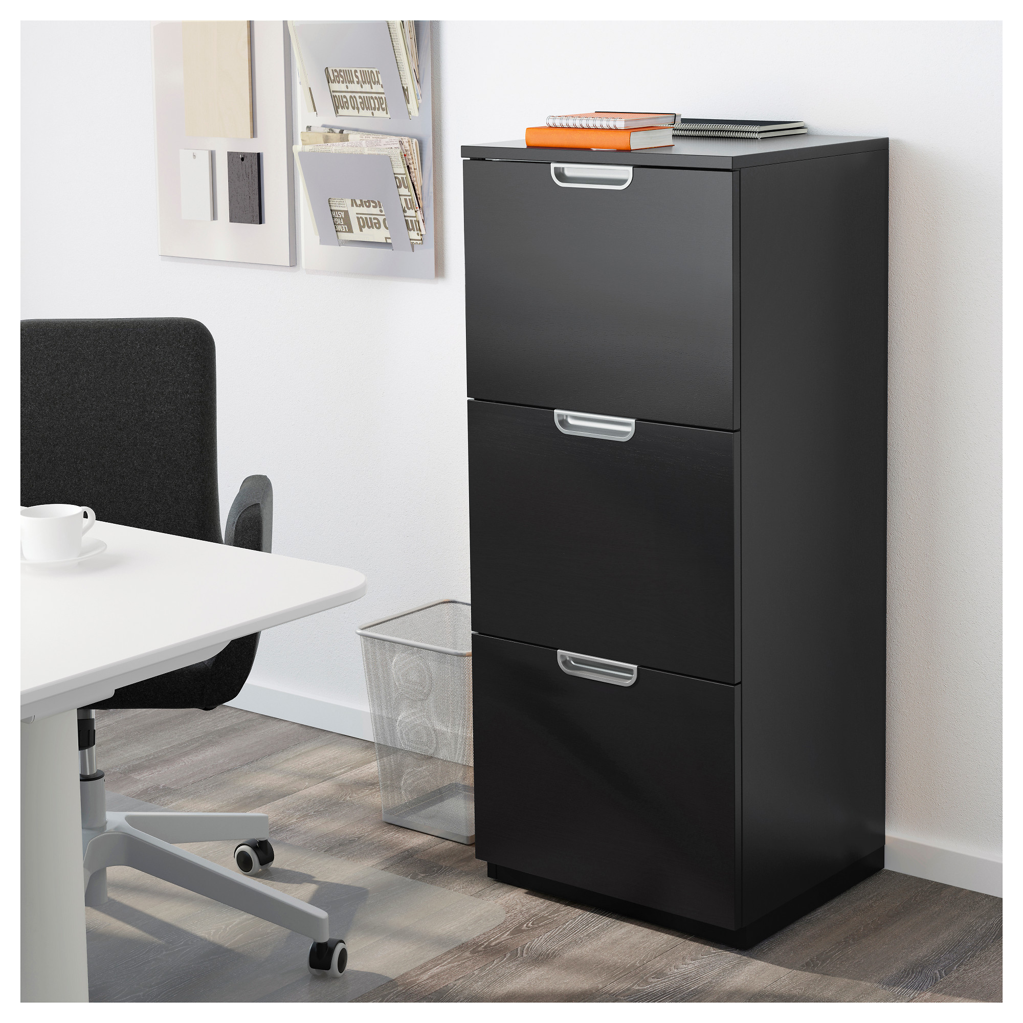 GALANT File cabinet - black-brown - IKEA