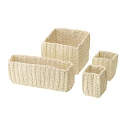 NORDRANA basket, set of 4, off-white