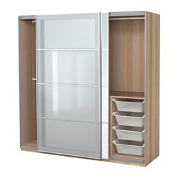 PAX wardrobe, Auli Sekken, white stained oak effect Width: 200 cm Depth: 66 cm Height: 201.2 cm
