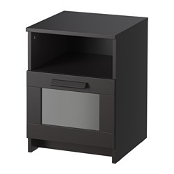 BRIMNES bedside table, black Width: 39 cm Depth: 41 cm Depth of drawer: 385 cm