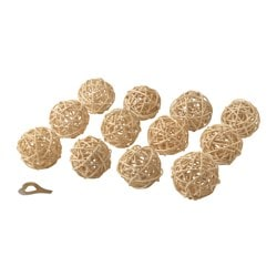 STRÅLA decoration for lighting chain, rattan beige Package quantity: 12 pack