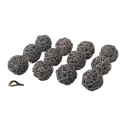 STRÅLA decoration for lighting chain, rattan grey Diameter: 6 cm Package quantity: 12 pack