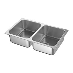 hillesjn double bowl top mount sink stainless steel - Ikea Kitchen Sink