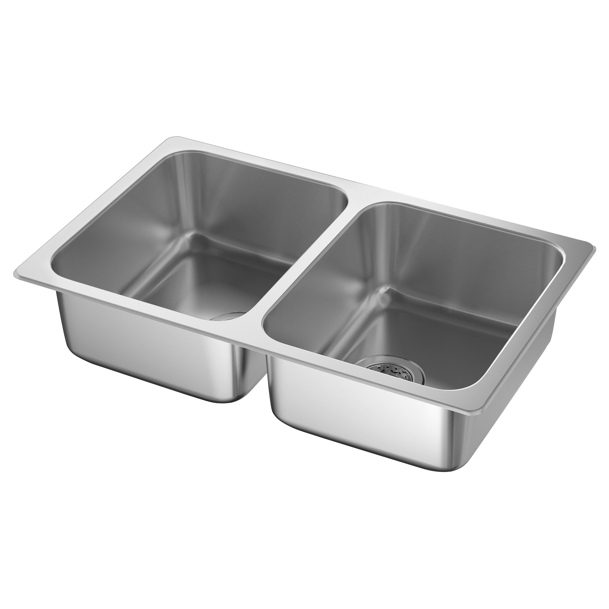 HILLESJÖN Double Bowl Top Mount Sink, Stainless Steel Cut Out Measurement  Width: 17