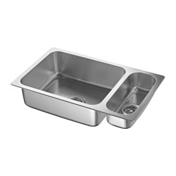 HILLESJÖN, 1 1/2 bowl dual mount sink, stainless steel
