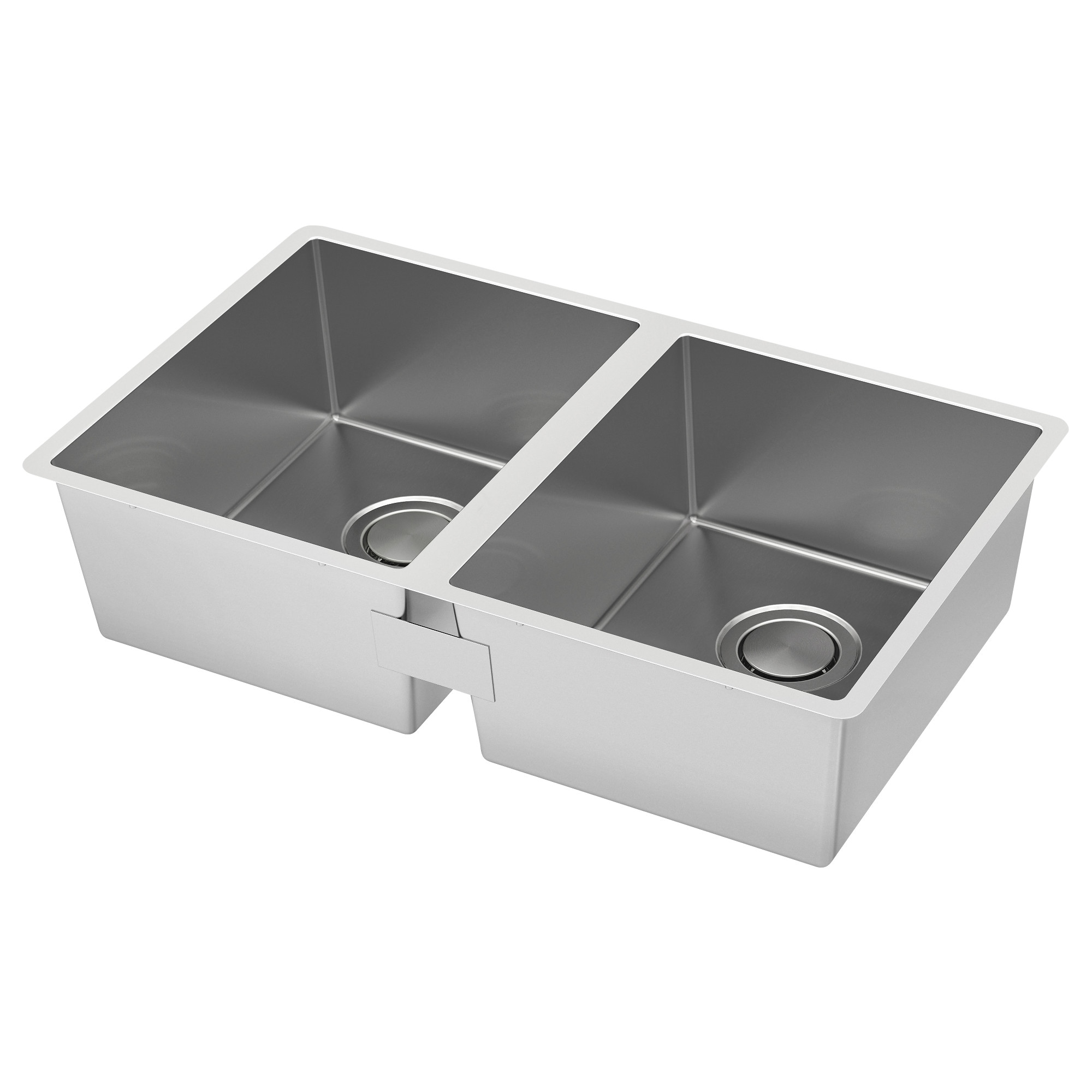 NORRSJÖN Double Bowl Top Mount Sink, Stainless Steel Cut Out Measurement  Width: 16