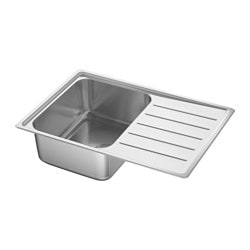 VATTUDALEN inset sink, 1 bowl with drainboard, stainless steel Bowl, depth: 18 cm Bowl, width: 33 cm Bowl, front to back: 40 cm