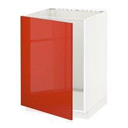 METOD base cabinet for sink, white, Järsta orange Width: 60.0 cm Depth: 61.7 cm Frame, depth: 60.0 cm