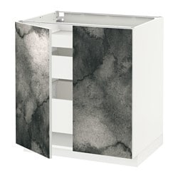 METOD /  MAXIMERA base cabinet w 2 doors/3 drawers, white, Kalvia printed Width: 80.0 cm Depth: 61.8 cm Frame, depth: 60.0 cm