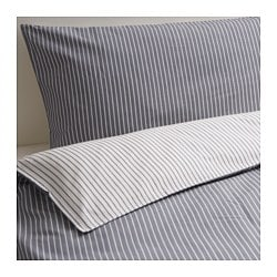 RÖDNARV quilt cover and 4 pillowcases, grey, stripe Pillowcase quantity: 4 pack Quilt cover length: 200 cm Quilt cover width: 200 cm