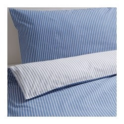 RÖDNARV quilt cover and 4 pillowcases, blue, stripe Thread count: 295 /inch² Pillowcase quantity: 4 pack Quilt cover length: 200 cm