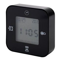 LÖTTORP clock/thermometer/alarm/timer, black Width: 7 cm Depth: 3 cm Height: 7 cm