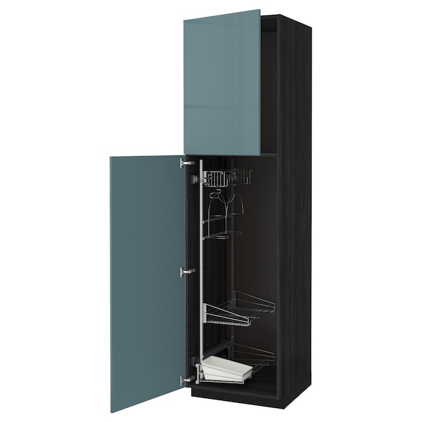 Metod High Cabinet With Cleaning Interior Black Kallarp