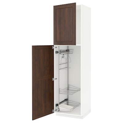 Metod High Cabinet With Cleaning Interior White Edserum Brown