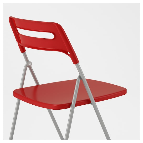 Nisse Folding Chair Silver Colour Red Ikea