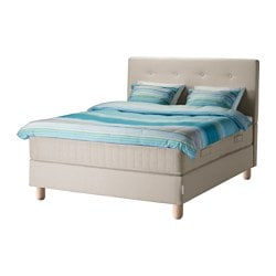 BEKKESTUA divan bed, Hesseng firm, Tromsdalen natural colour Length: 189 cm Width: 152 cm Height: 120 cm