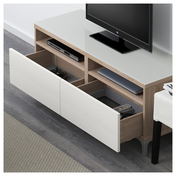 Best 197 Tv Bench With Drawers Grey Stained Walnut Effect
