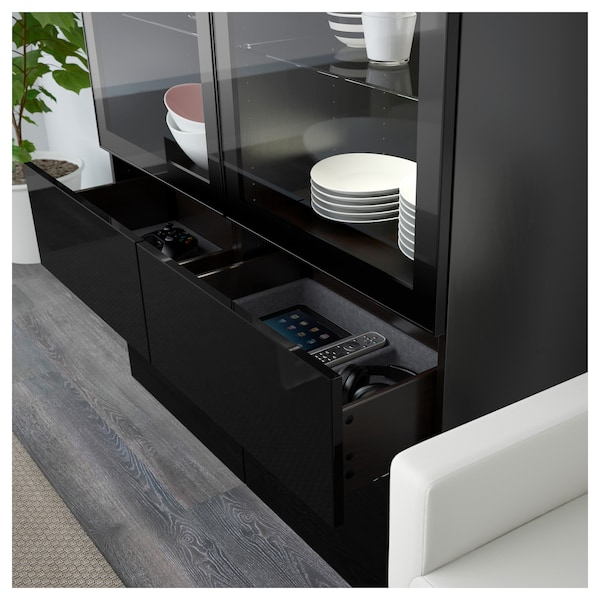 best vitrine schwarzbraun selsviken hochglanz klarglas schwarz ikea. Black Bedroom Furniture Sets. Home Design Ideas