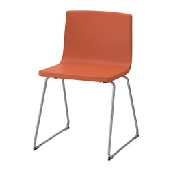 BERNHARD chair, chrome-plated, Mjuk orange