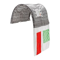 KURA bed tent with curtain, grey, white Length: 160 cm Width: 97 cm Height: 68 cm